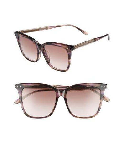 Bottega Veneta - Brown 54mm Square Sunglasses - Avana - Lyst