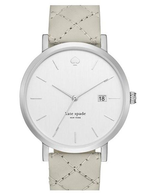 Kate Spade | Metallic 'metro Grand' Quilted Strap Watch | Lyst