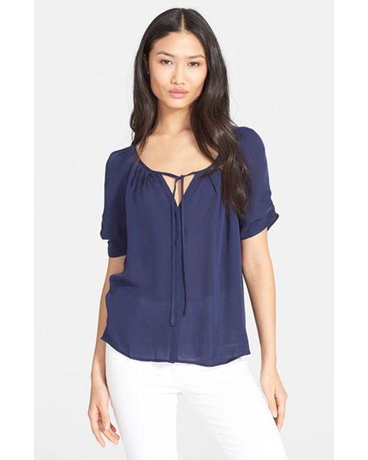 Joie | Blue 'berkeley' Silk Top | Lyst