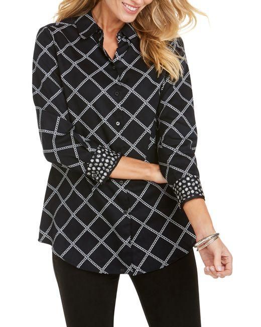 Foxcroft - Black Faith Jeweled Chains Shirt - Lyst