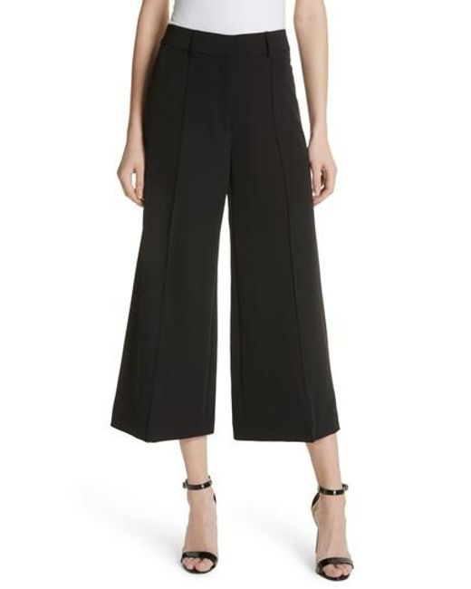 MILLY - Black Hayden Crop Wide Leg Pants - Lyst