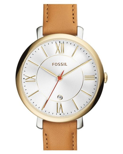 Fossil | Brown 'jacqueline' Round Leather Strap Watch | Lyst