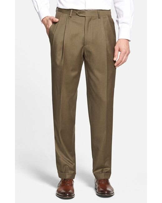 Santorelli | Green 'luxury Serge' Double Pleated Wool Trousers for Men | Lyst