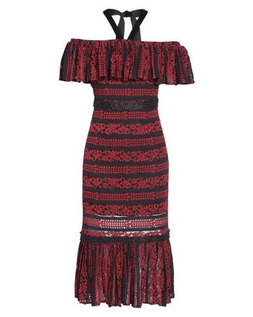 Foxiedox | Red Stella Off The Shoulder Lace Midi Dress | Lyst