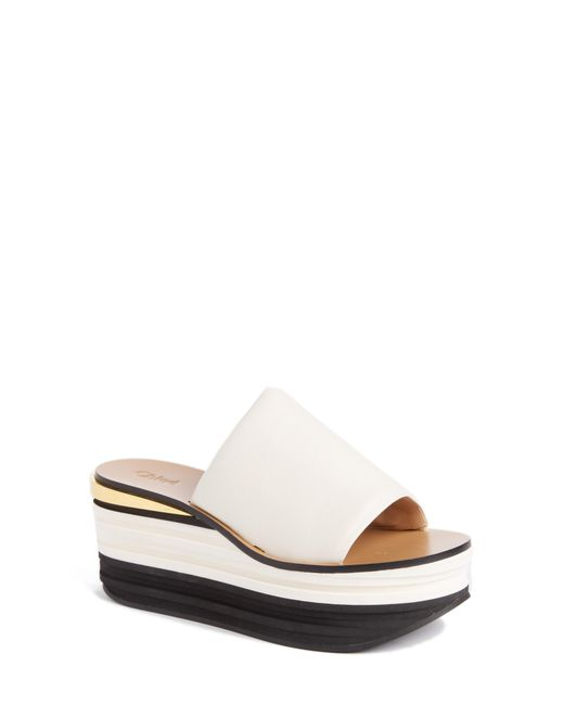 Chloé - White Camille Wedge Mules - Lyst