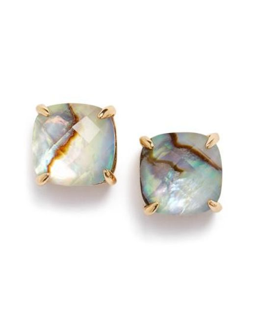 Kate Spade | Metallic Mini Small Square Semiprecious Stone Stud Earrings | Lyst