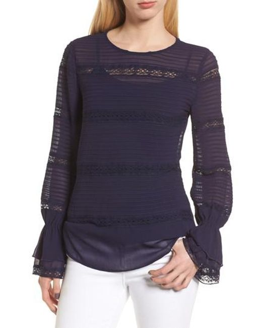 Chelsea28 - Blue Pintuck & Lace Top - Lyst