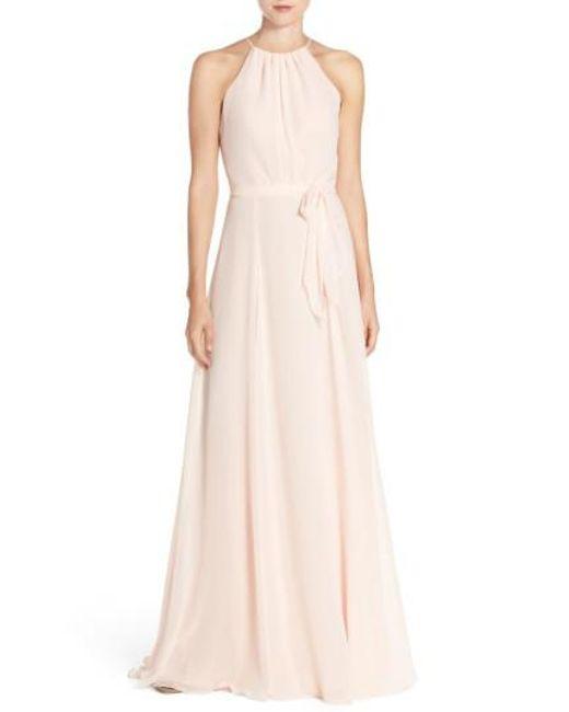 Amsale | Pink 'delaney' Belted A-line Chiffon Halter Dress | Lyst