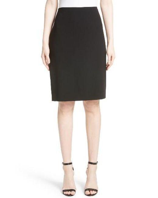 St. John | Black Crepe Marocain Pencil Skirt | Lyst