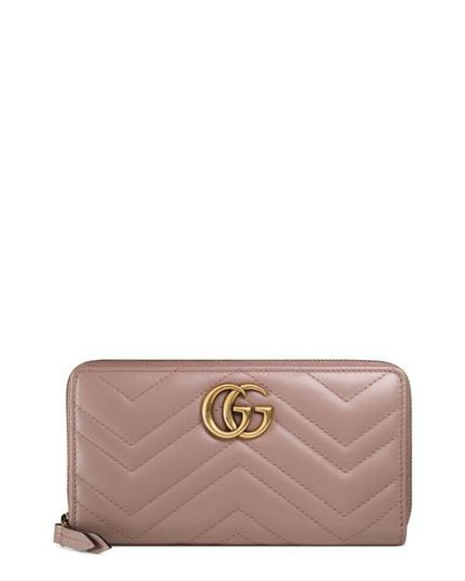 Gucci - Pink Gg Marmont Matelasse Leather Zip-around Wallet - Lyst
