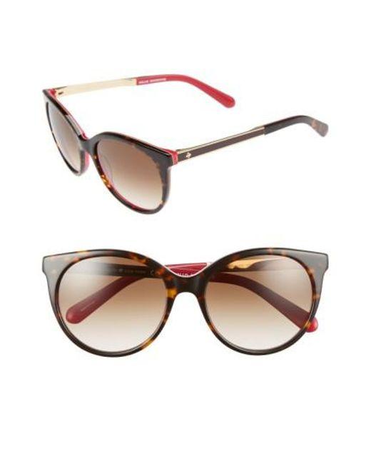 Kate Spade | Blue 'amayas' 53mm Cat Eye Sunglasses - Havana/ Pink | Lyst