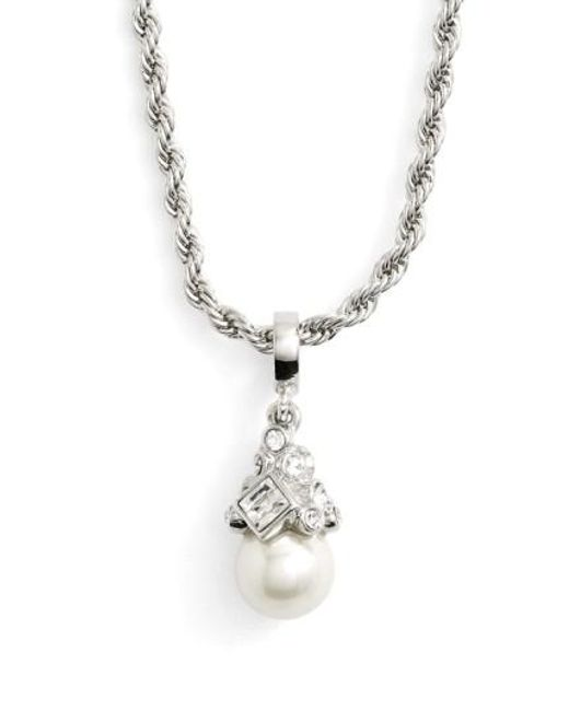 Givenchy - Metallic Imitation Pearl Pendant Necklace - Lyst