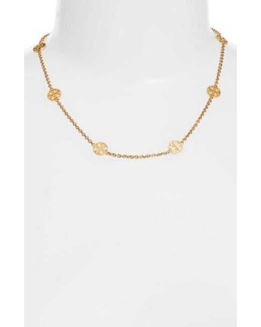 Tory Burch | Metallic Logo Station Necklace | Lyst