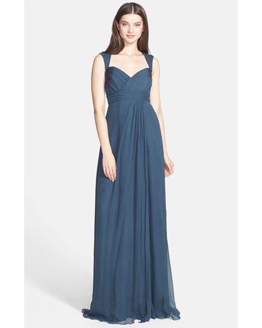 Amsale | Blue Crinkled Silk Chiffon Gown | Lyst