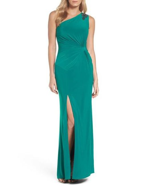 Adrianna Papell | Green One-shoulder Jersey Gown | Lyst