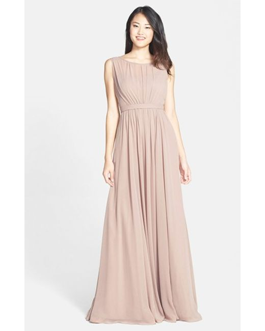 Jenny Yoo | Natural 'vivienne' Pleated Chiffon Gown | Lyst