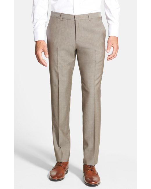 BOSS - Brown 'genesis' Flat Front Wool Trousers for Men - Lyst