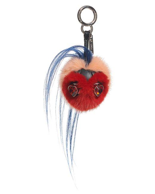 Fendi Red Heart Genuine Mink & Goat Fur Bag Charm