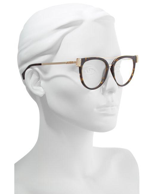 dbbcf65b0 ... Moschino - Metallic 55mm Cat Eye Sunglasses - Havana Gold/ Clear - Lyst