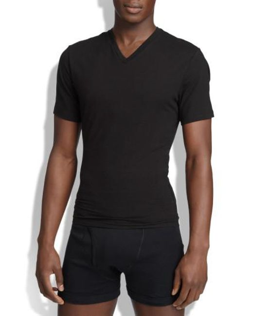 Spanx | Black Spanx V-neck Cotton Compression T-shirt for Men | Lyst