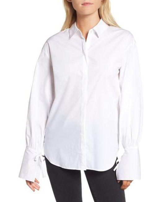 Trouvé | White Tie Sleeve Poplin Shirt | Lyst
