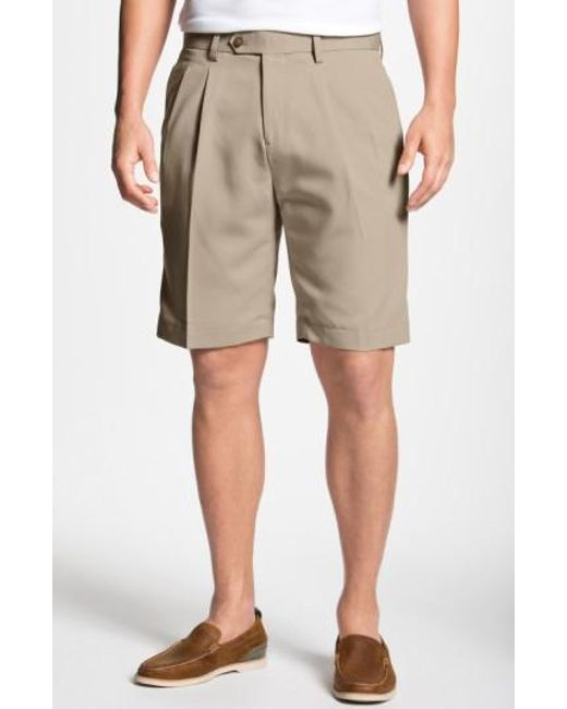 Cutter & Buck | Natural Double Pleated Microfiber Twill Shorts for Men | Lyst