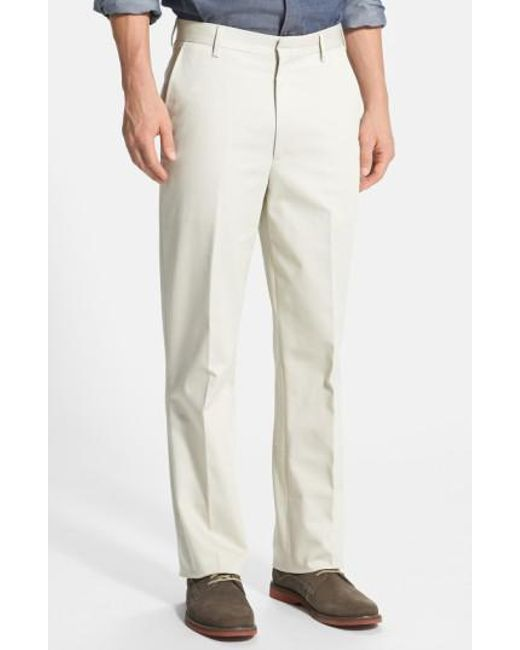 Berle - Natural Flat Front Wrinkle Resistant Cotton Trousers for Men - Lyst
