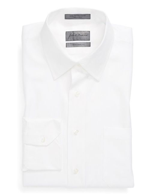 John W. Nordstrom | White John W. Nordstrom Traditional Fit Herringbone Dress Shirt for Men | Lyst