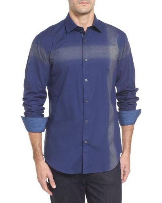 Bugatchi   Blue Classic Fit Ombre Stripe Sport Shirt for Men   Lyst