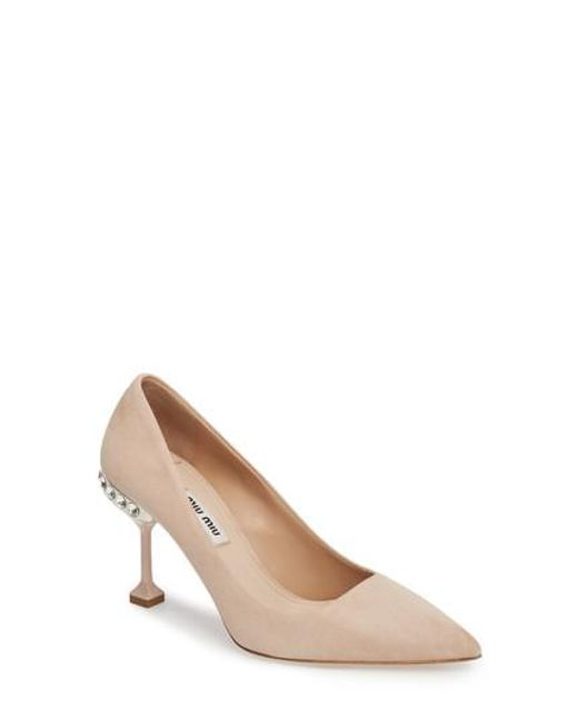 Miu Miu - Natural Jeweled Pump - Lyst