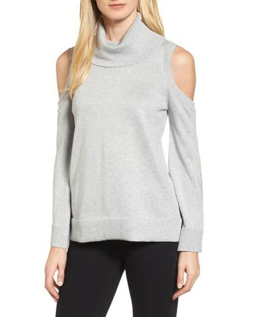 Chaus   Gray Metallic Cold Shoulder Cowl Neck Sweater   Lyst