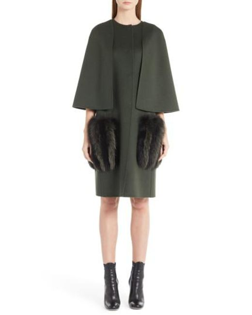 Fendi | Black Wool Cape Coat With Genuine Fox Fur Pockets | Lyst