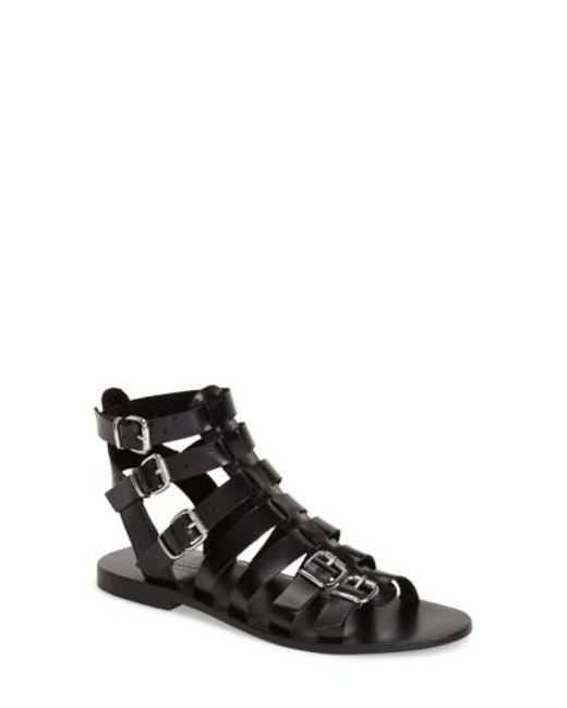 TOPSHOP   Black 'Favorite' Flat Gladiator Sandal   Lyst