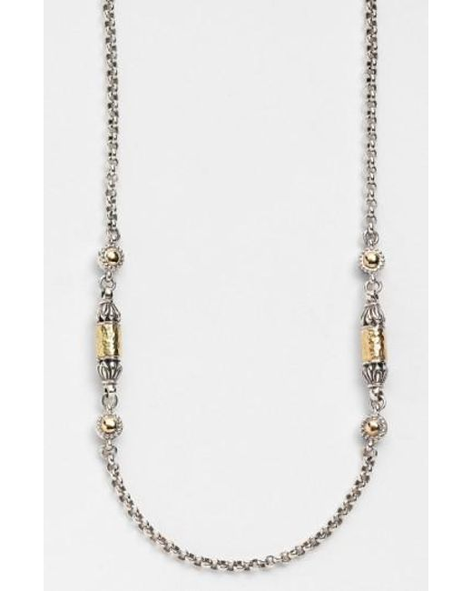 Konstantino | Metallic 'classics' Two-tone Hammered Station Necklace | Lyst