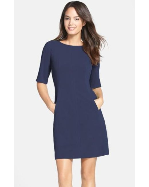 Tahari | Blue Seamed A-line Dress | Lyst