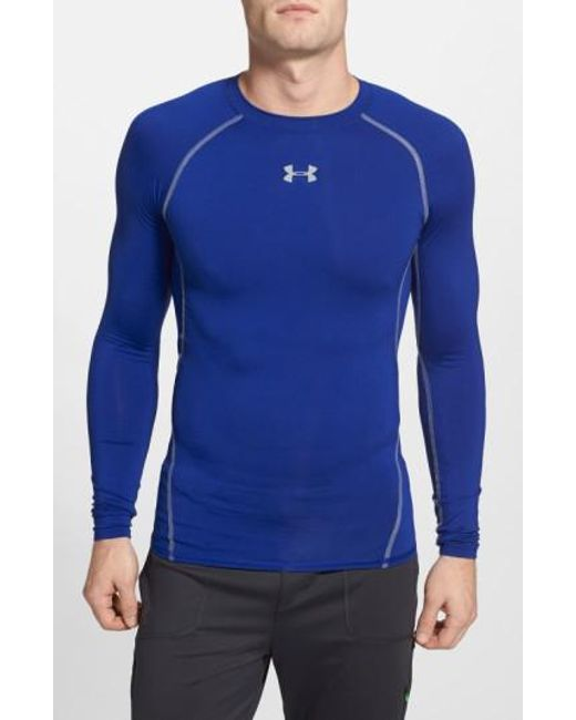 Under Armour | Blue Heatgear Compression Fit Long Sleeve T-shirt for Men | Lyst
