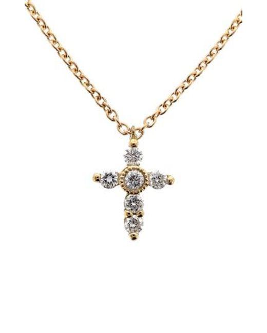 Bony Levy | Metallic Diamond Mini Cross Necklace (nordstrom Exclusive) | Lyst