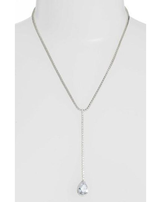 Nina - Metallic Teardrop Cubic Zirconia Y-shape Necklace - Lyst