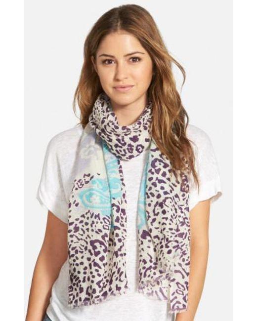 La Fiorentina   Blue Mixed Print Wool Scarf   Lyst