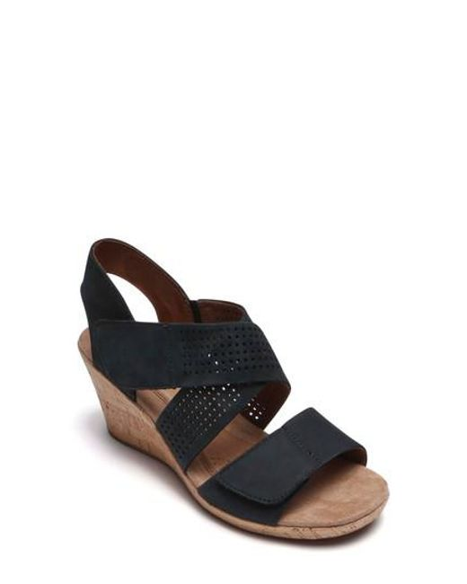 Cobb Hill - Black Janna Cross Strap Wedge Sandal - Lyst