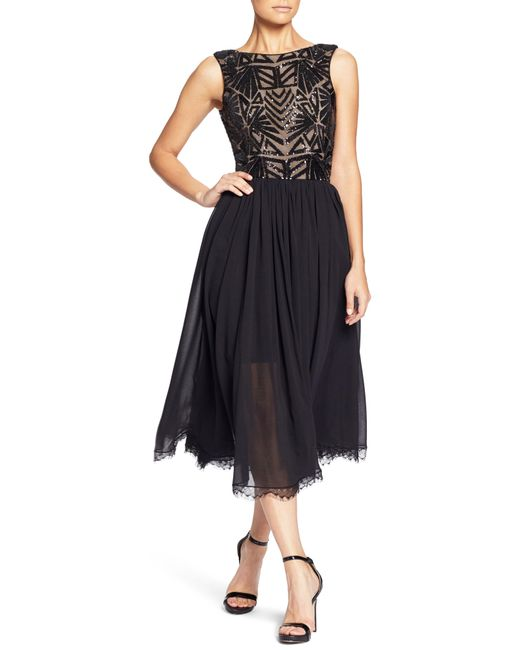 Dress the Population - Black Cathy Sequin Tea Length Dress - Lyst
