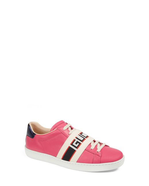 5906fc3bb4f Gucci - Pink New Ace Logo Strap Sneaker - Lyst ...