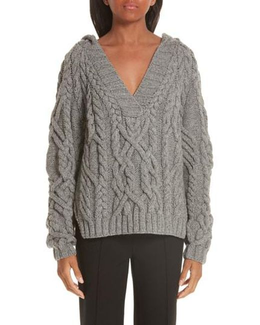 Nellie Partow - Gray Melange Cable Knit Hooded Sweater - Lyst