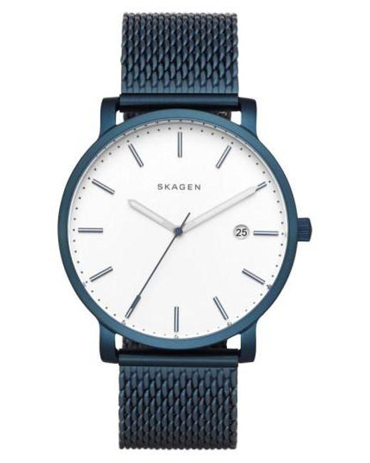 Skagen   Blue Hagen Round Mesh Strap Watch   Lyst