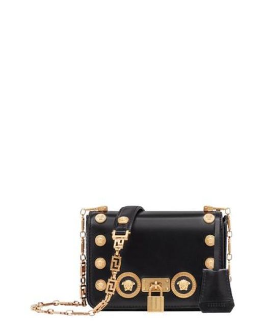 7fc101c3ce Lyst - Versace Icon Studded Leather Crossbody Bag in Black