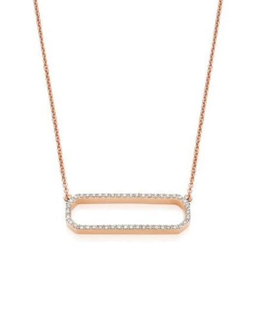 Monica Vinader - Metallic 'naida' Open Rectangle Diamond Pendant Necklace - Lyst