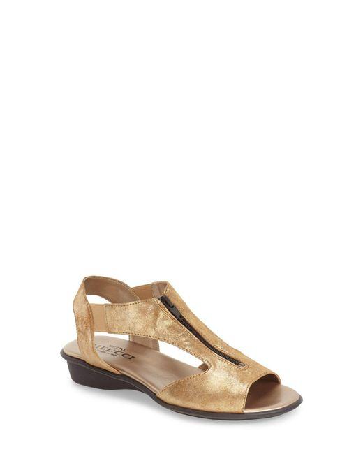 Sesto Meucci - Brown Euclid Metallic Leather Sandals - Lyst