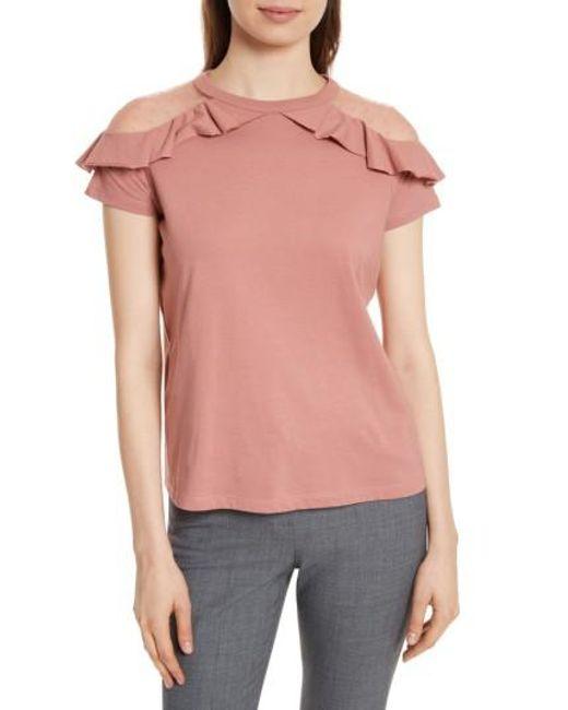 RED Valentino | Pink Point D'esprit & Jersey Top | Lyst