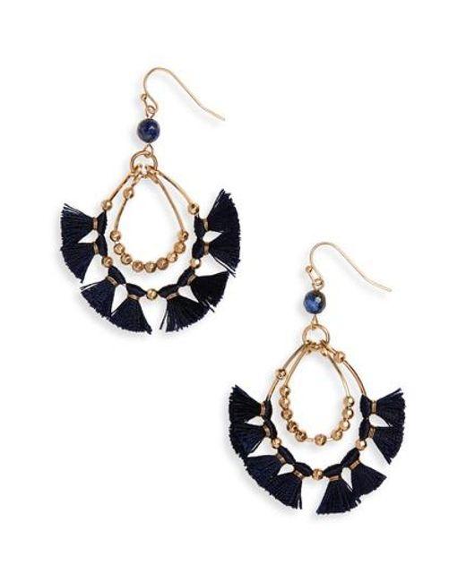 Panacea   Blue Tassel Hoop Earrings   Lyst