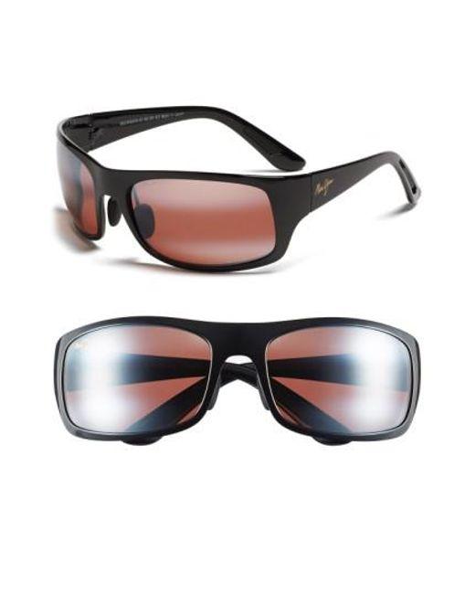 Maui Jim | 'haleakala - Polarizedplus2' Polarized Wrap Sunglasses - Gloss Black/ Maui Rose for Men | Lyst
